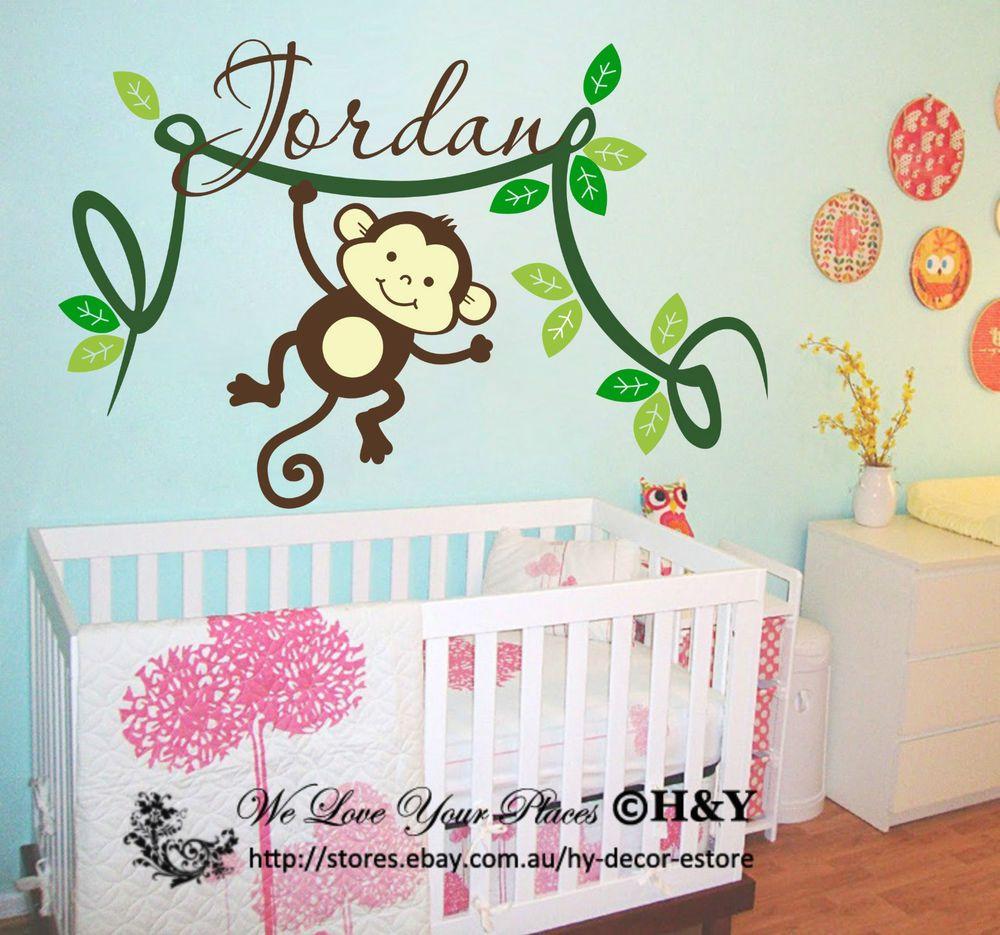 Personalised Kids Name Cheeky Monkey Wall Stickers Vinyl Decal Nursery Decor
