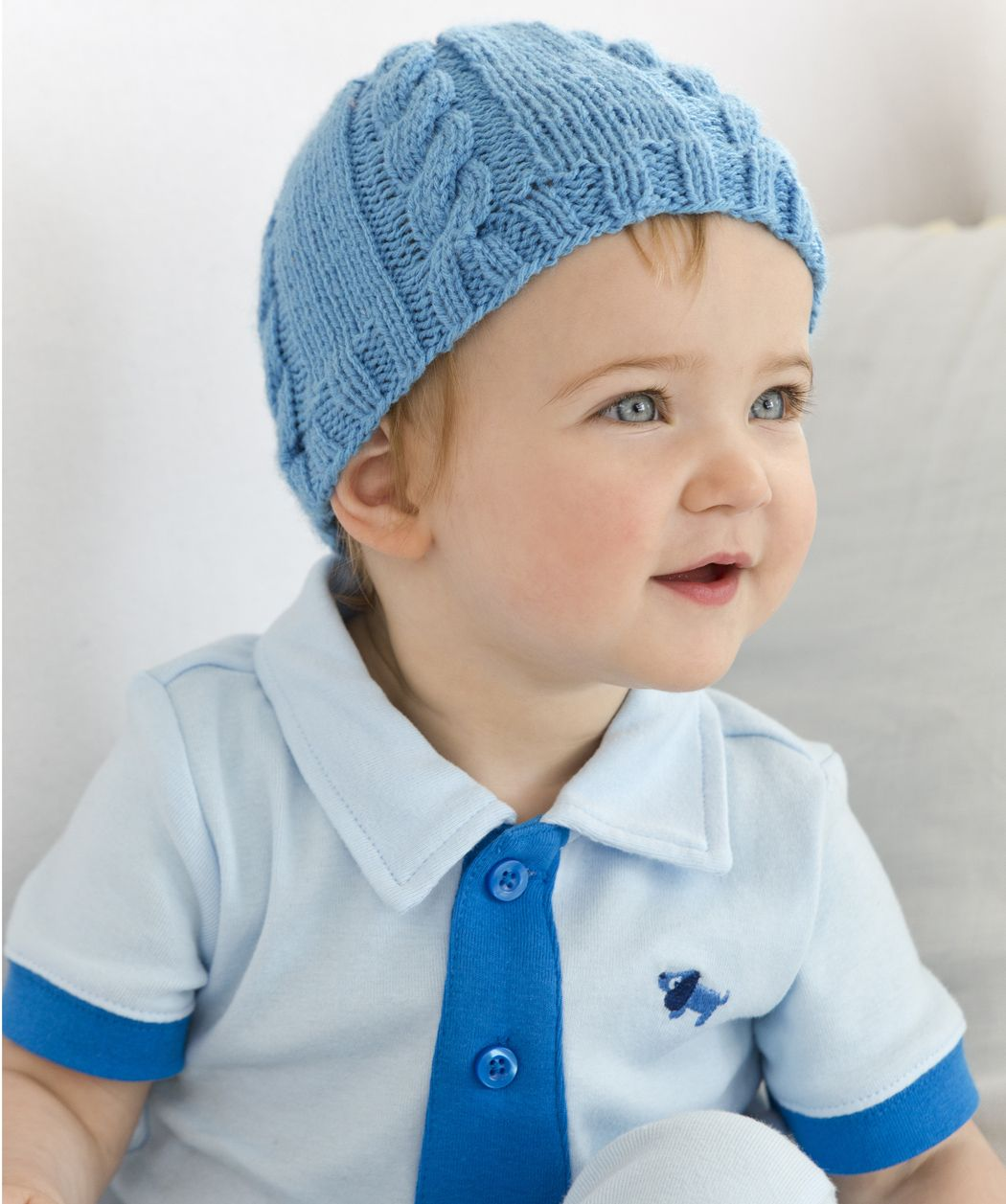 Cabled Baby Hat Free Knitting Pattern from Red Heart Yarns | Tejidos ...