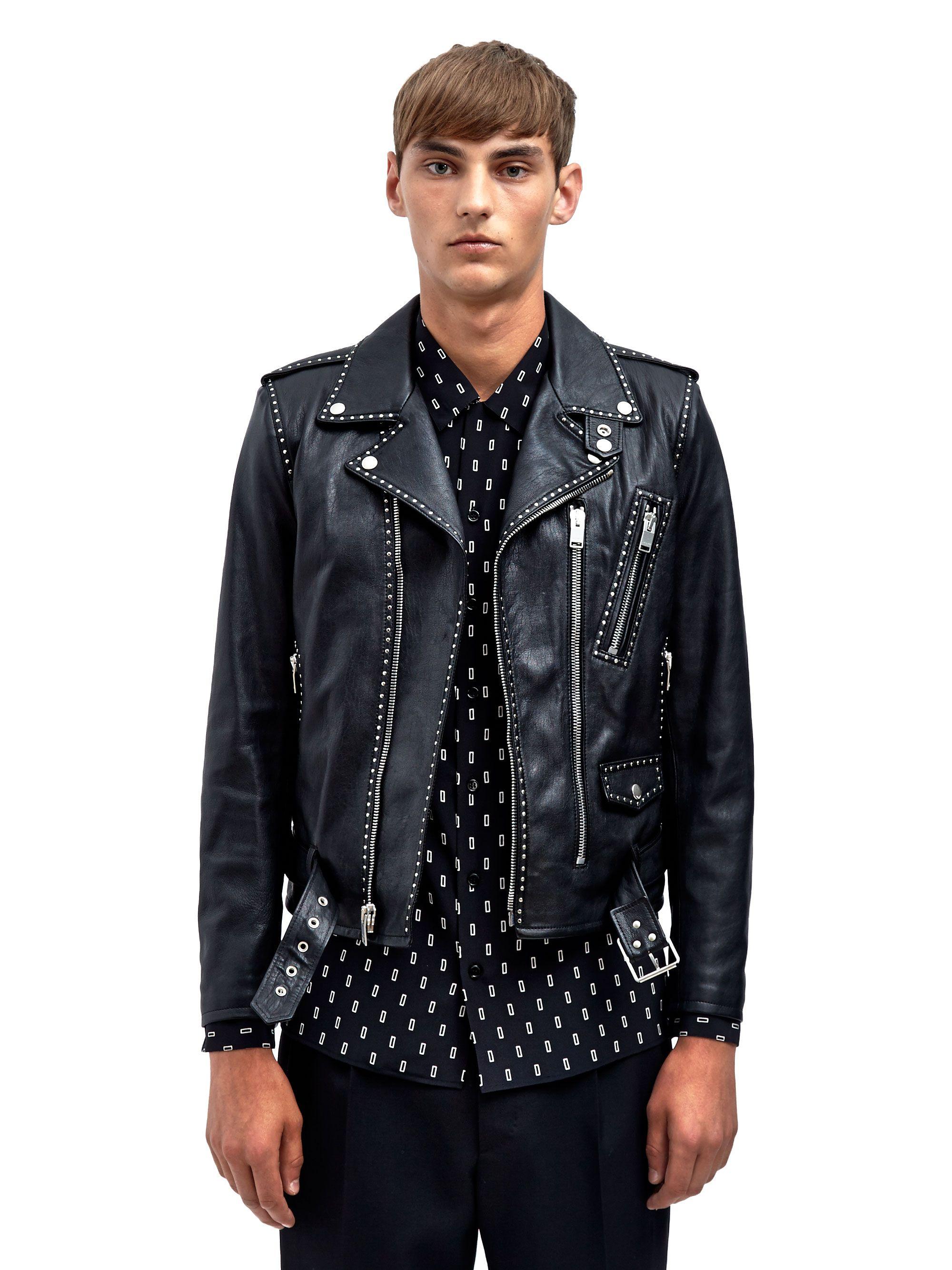 Saint Laurent Mens Studded Leather Biker Jacket Biker