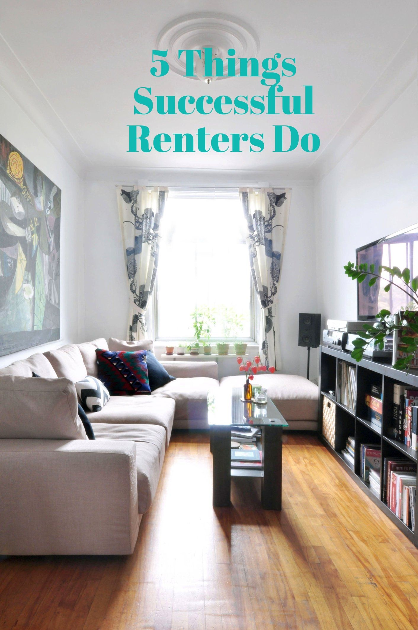 5 Things Successful Renters Do Narrow living room, Tiny