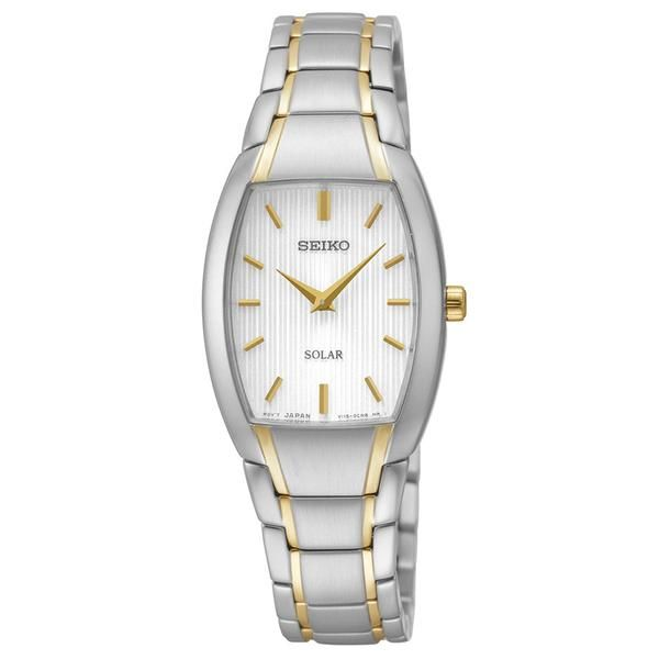 Seiko SUP260 Women's Watch Solar Silver Striped Dial Two-Tone Stainless Steel…