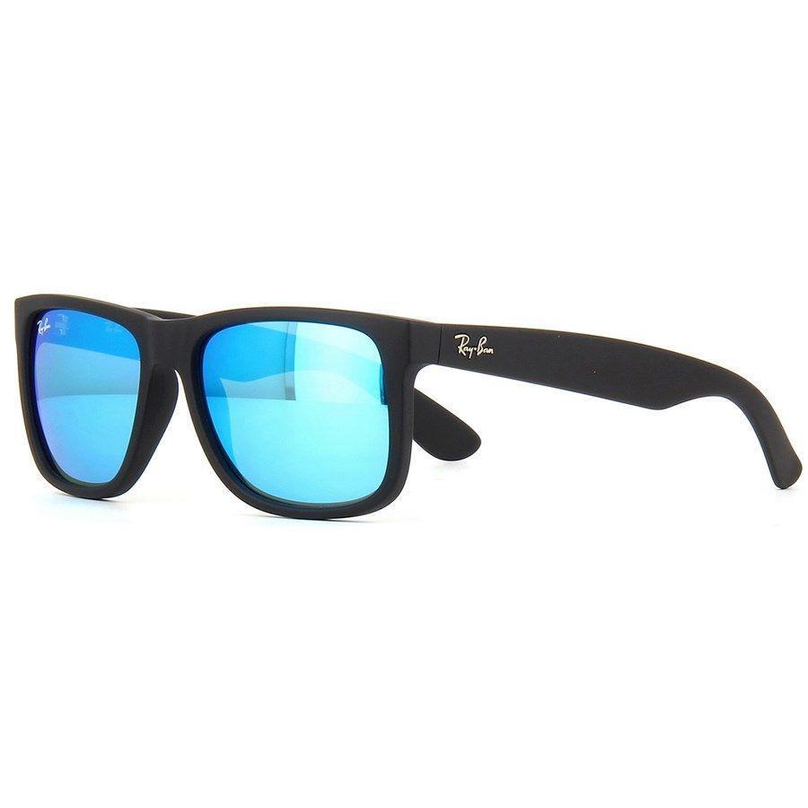 Óculos de Sol Ray Ban Justin Pretocom Lente Azul Espelhada   óculos ... a5992ebe23
