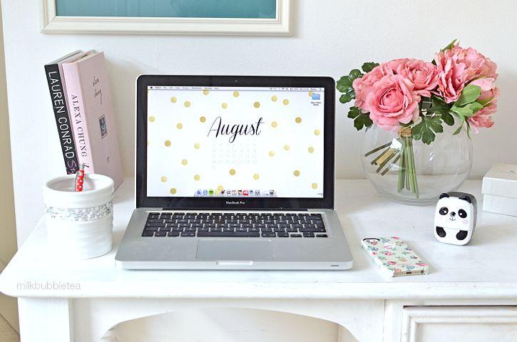 Milk Bubble Tea S Desk Featuring Rompadomp Design August 2017 Desktop Calendar Wallpaper
