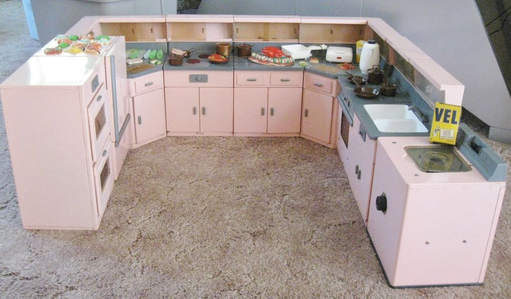 9 Piece Vintage Pink Metal General Electric Little Miss Structo Kitchen Set Toy Kitchen Set Kitchen Sets Dollhouse Miniatures Kitchen