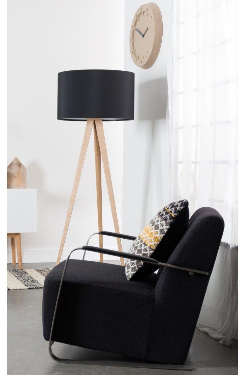 Lampa Podlogowa Tripod Wood Czarna Zuiver 5000805 Lampy Lampa Podlogowa Deco
