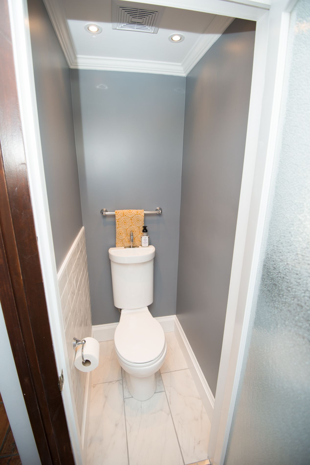Tiny Powder Room Room Dimensions 44 X 33 It Can Be Done Caroma Profile Smart 305 Toilet Sink Combo Tiny