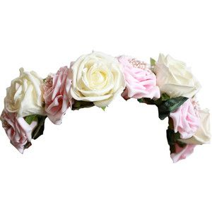 Pink And White Rose Crown Digital Flowers Floral Flower Hair Accessories