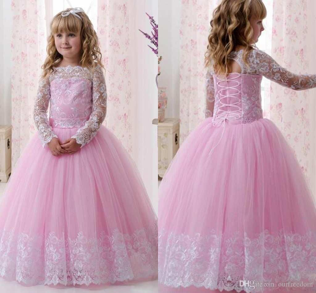 2017 Pink Lace Long Sleeves Ball Gown Flower Girl Dresses Lovely ...