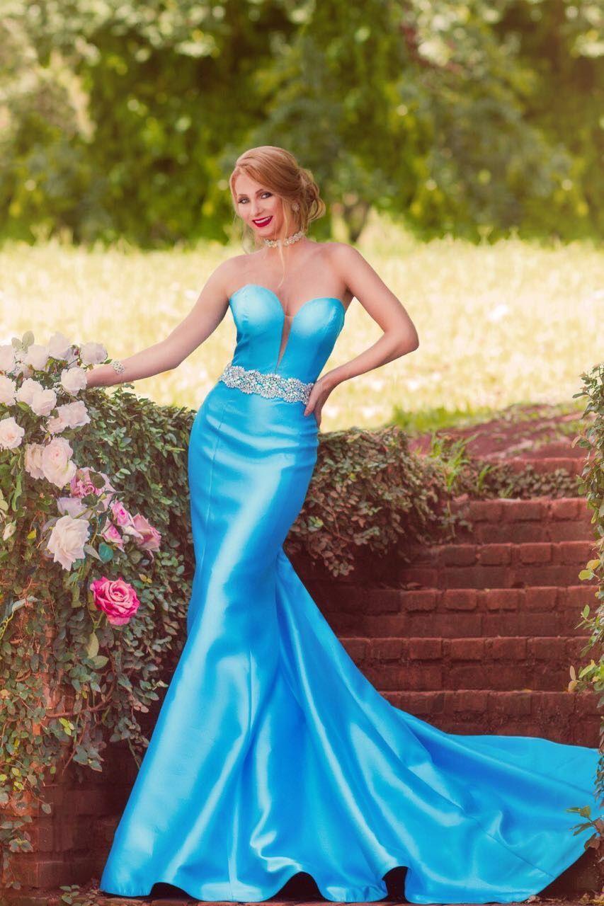 Vestido madrinha azul claro, de zibeline Atelier Lucinha Silveira ...