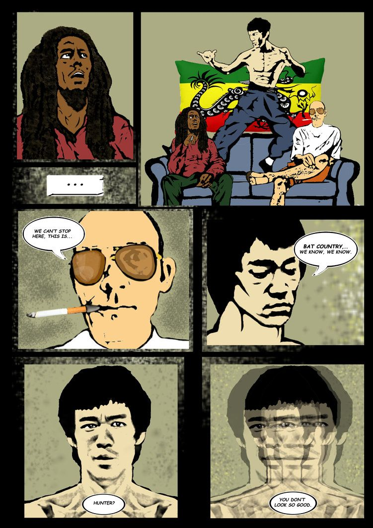 Page four of a short comic I made for a friend as a christmas present in which a few of his favourite cultural icons are hanging out in the same flat, Bruce Lee, Bob Marley, Hunter S Thompson and a...