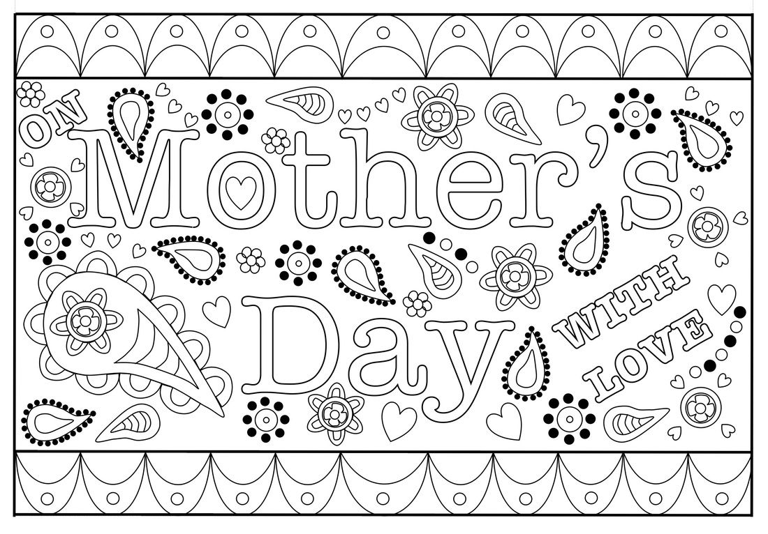 Happy Mothers Day Coloring Card Free