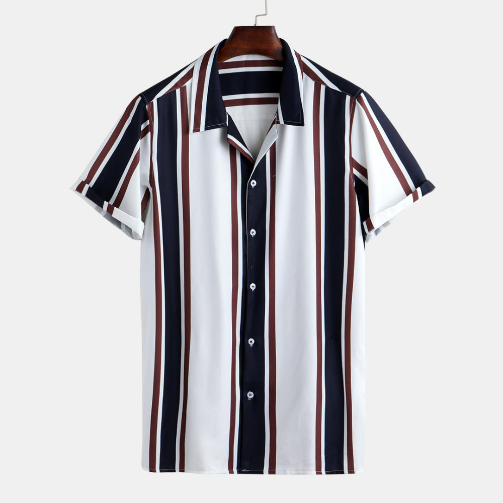 NREALY Camisa Mens Summer Old Shirts Father Tops Fashion High Qulity Striped Top Blouse