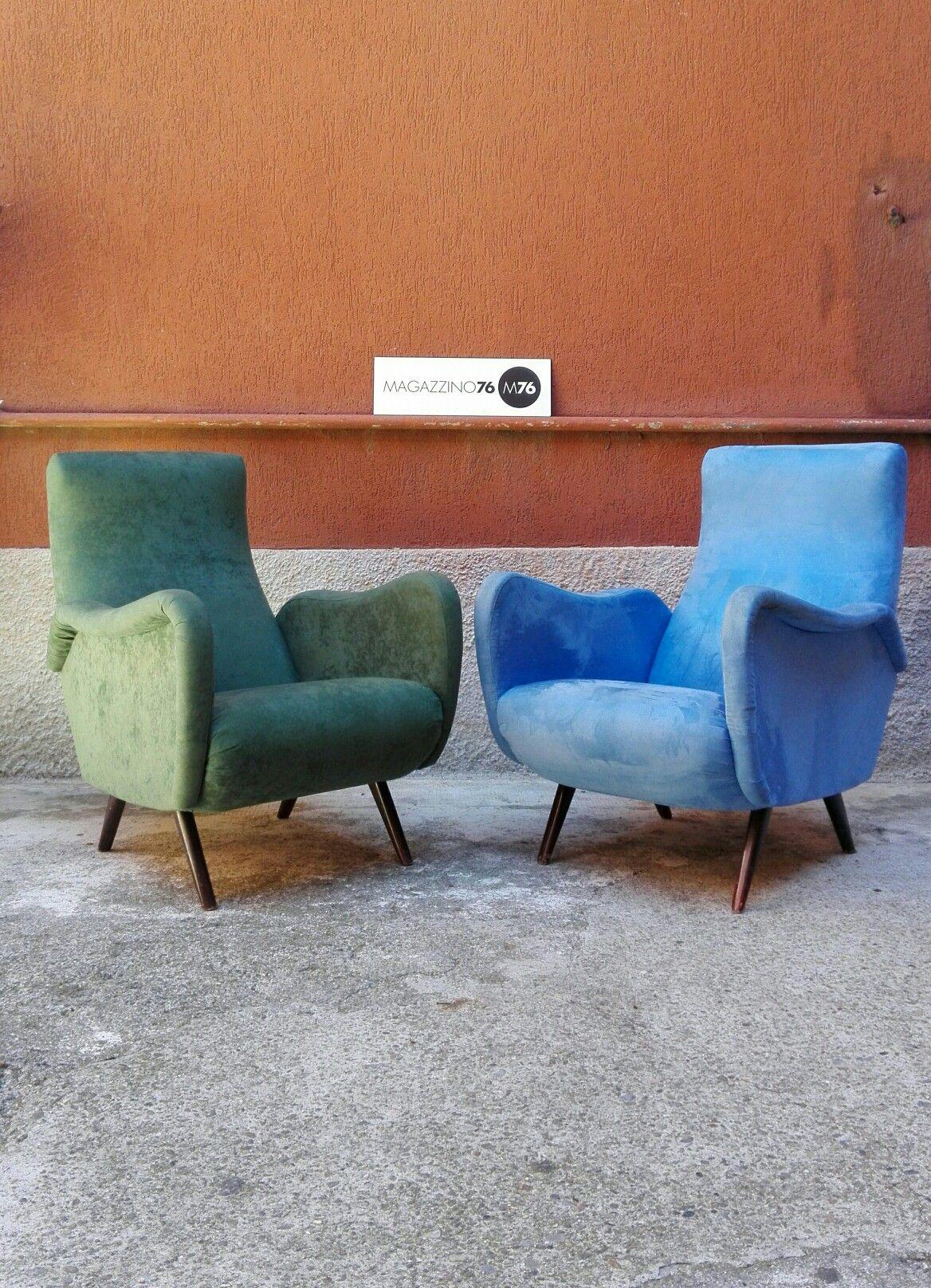 Coppia di poltrone anni 50 in tessuto verde e azzurro for Poste mobili 0 pensieri small