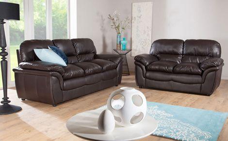Bon Rochester Dark Brown Leather Sofa Suite 3+2 Seater