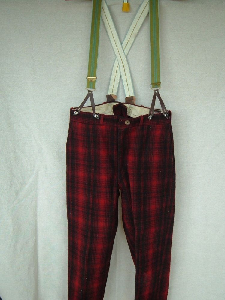 20b15aa2c5d5f Vintage Woolrich Red Wool Plaid Hunting Pants with Green suspenders # Woolrich #hunting
