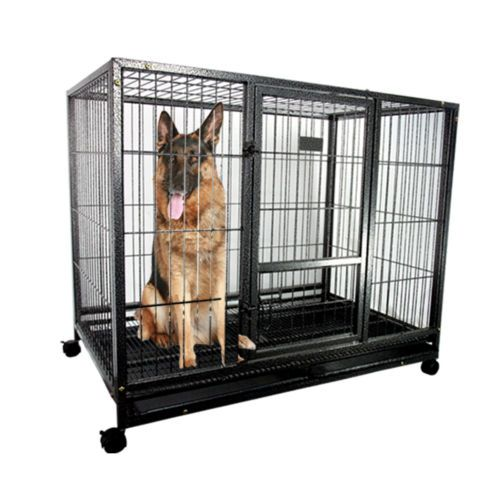 43 Heavy Duty Metal Dog Cage Kennel W Wheels Portable Pet Puppy Carrier Crate Heavy Duty Dog Crate Dog Crate Dog Cages