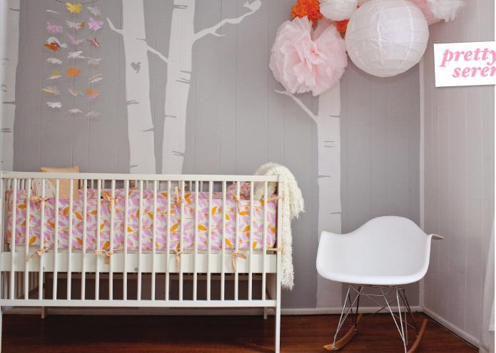 Modern Babyzimmer Ideen ~ Modern baby girl nursery ideas with beautiful wall painting girls