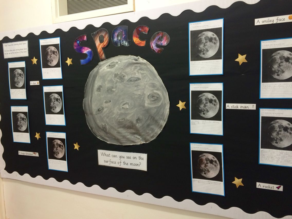 Space and the moon science display board, year 1 KS1