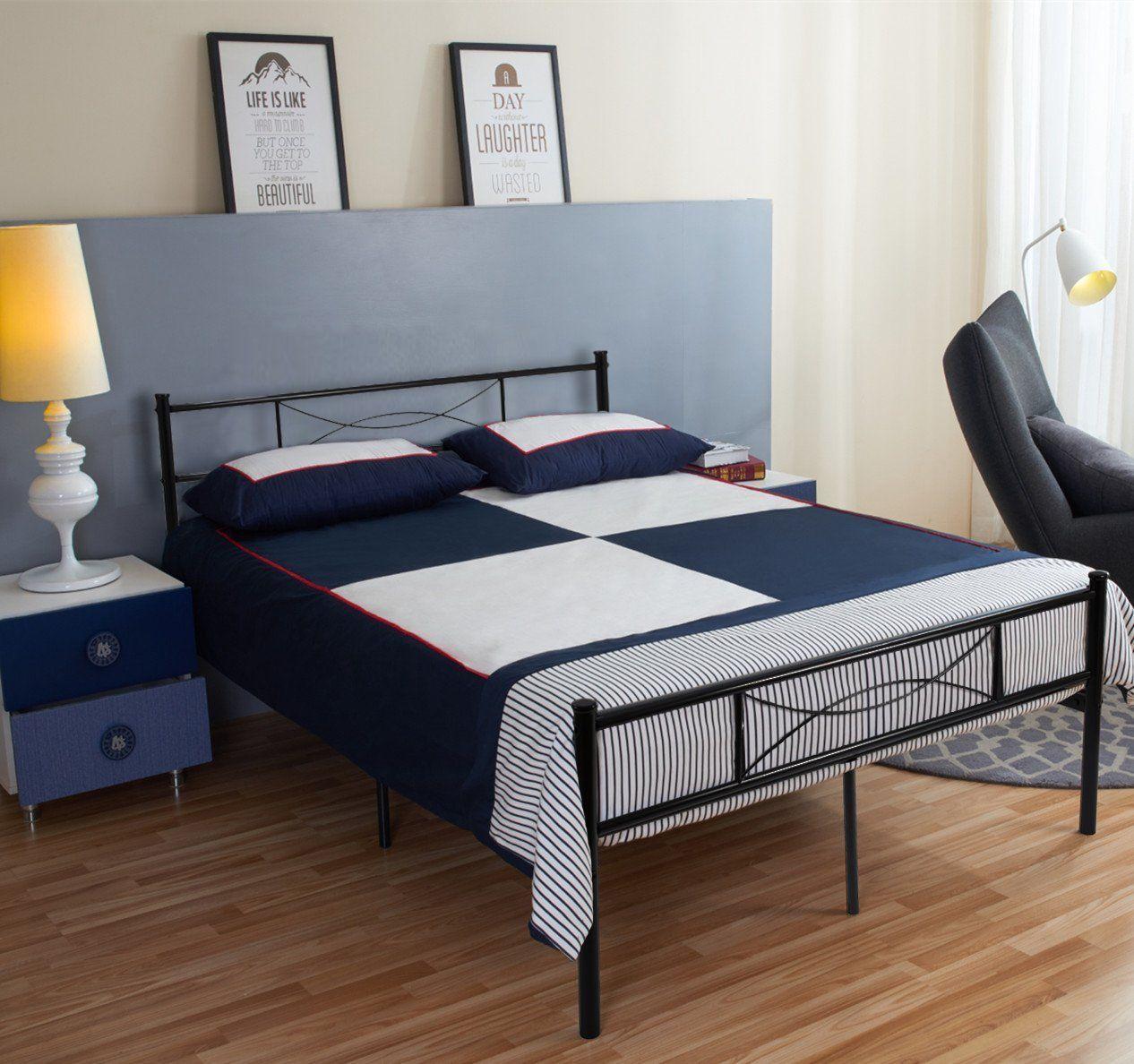 Simlife Metal Bed Frame Full Size 10 Legs Two Headboards Mattress