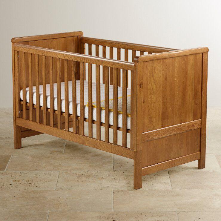 Original Rustic Solid Oak Cot Bed Baby Furniture Sets