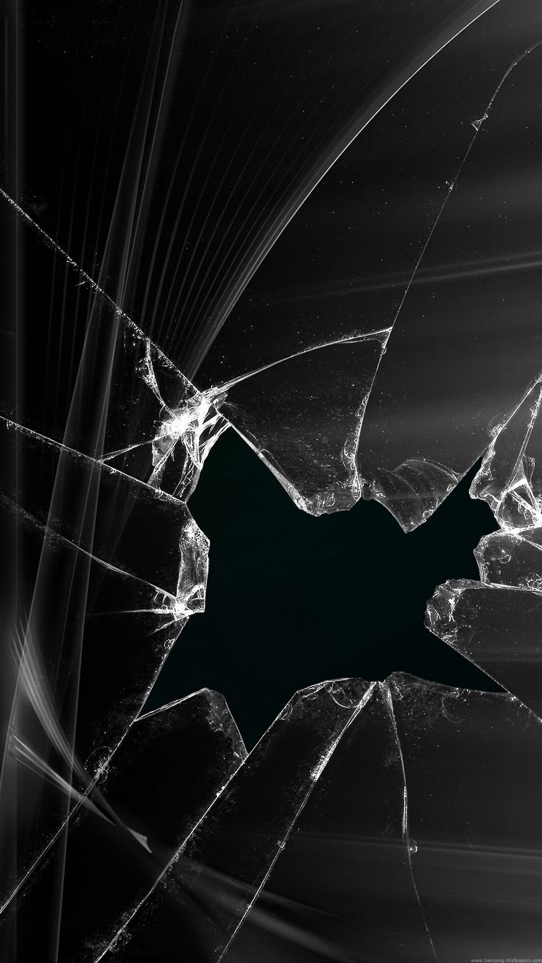 Broken screen wallpaper black abstract picture cracked for 3d home screen wallpaper for iphone