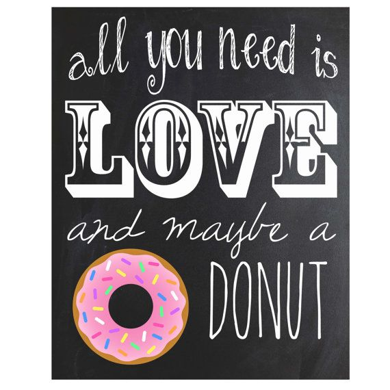 Funny Kitchen Art Funny Wedding Sign Instant Download Tea: Donut Chalkboard Sign