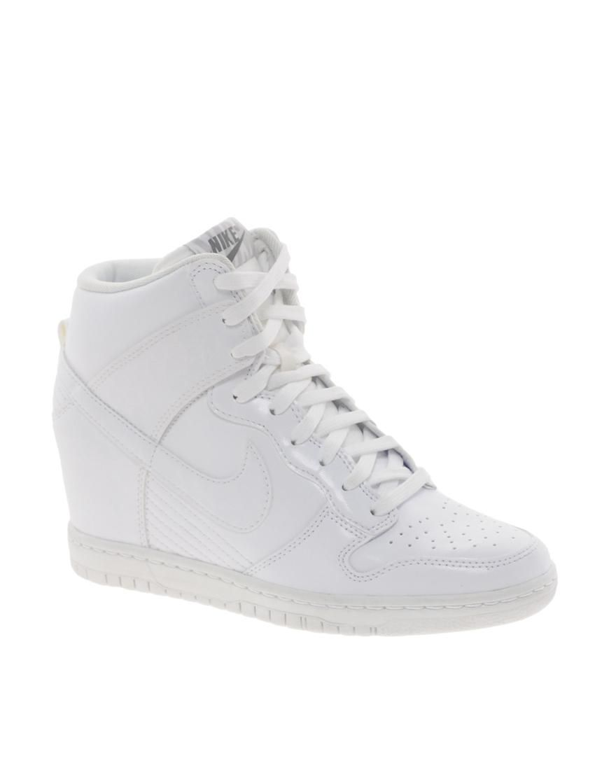 03cae0219278 ... where can i buy nike nike dunk sky hi white wedge trainers at asos  320f1 3ceb9