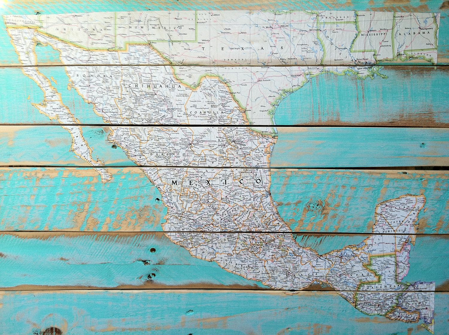 Decoupaged Map On Reclaimed Wood I Want A Map Of The World Not