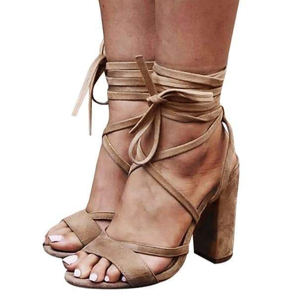 Chunky Faux prom unique comfortable Heels Strappy Suede up Lace vintage strappy cute booys pumps Sandals R88rqI