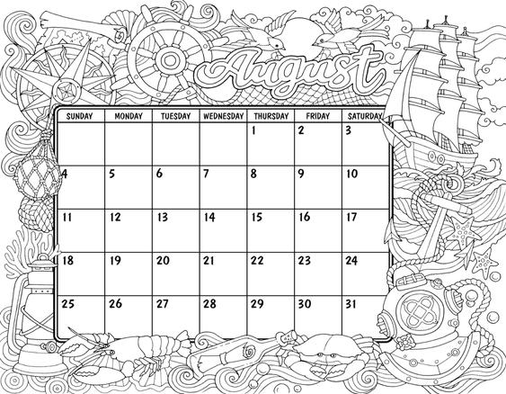 August 2019 ColorIt Coloring Calendar in 2019 | August ...