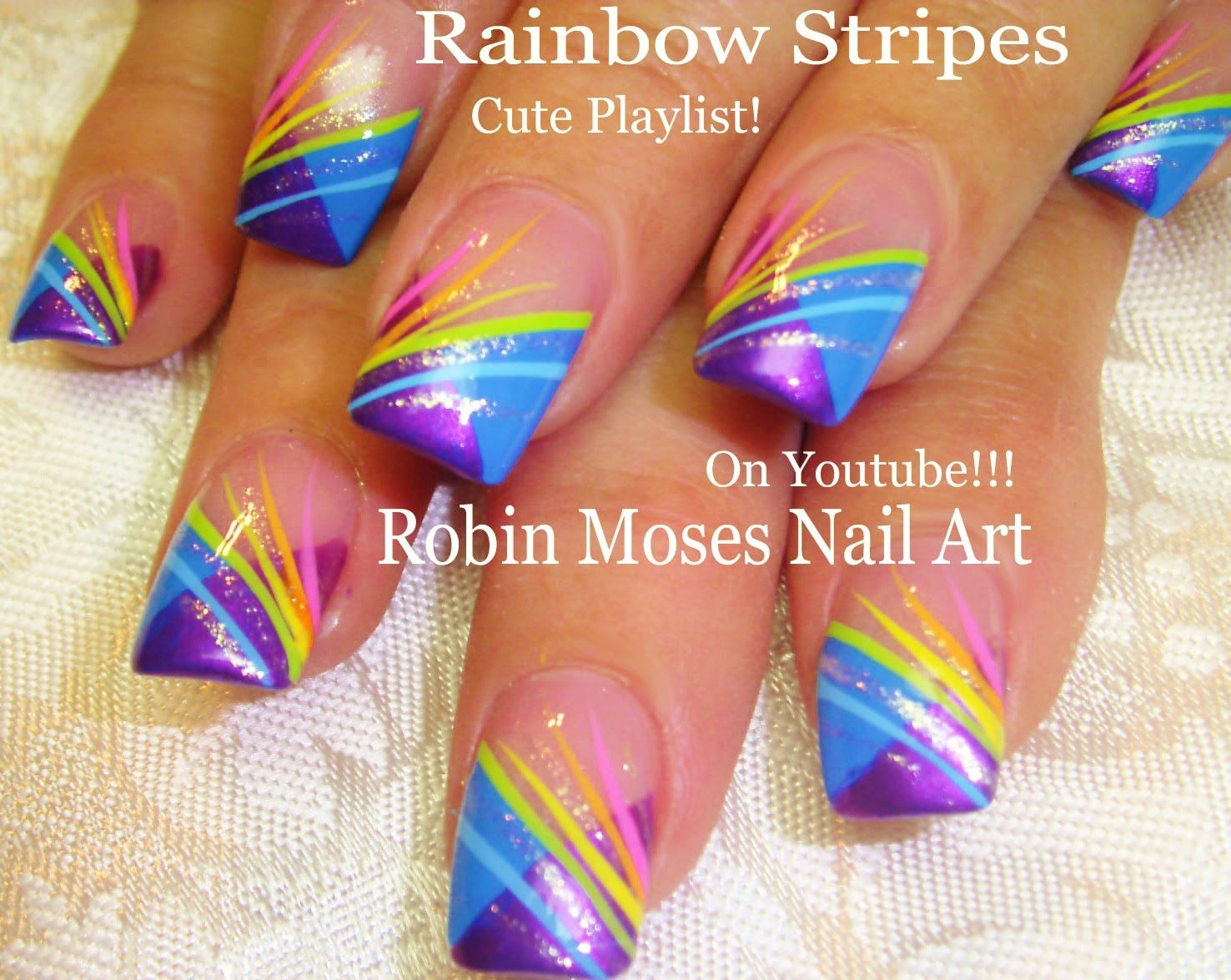 Nail Art Tutorial | DIY EASY Rainbow Striped Nails | Chevron French ...