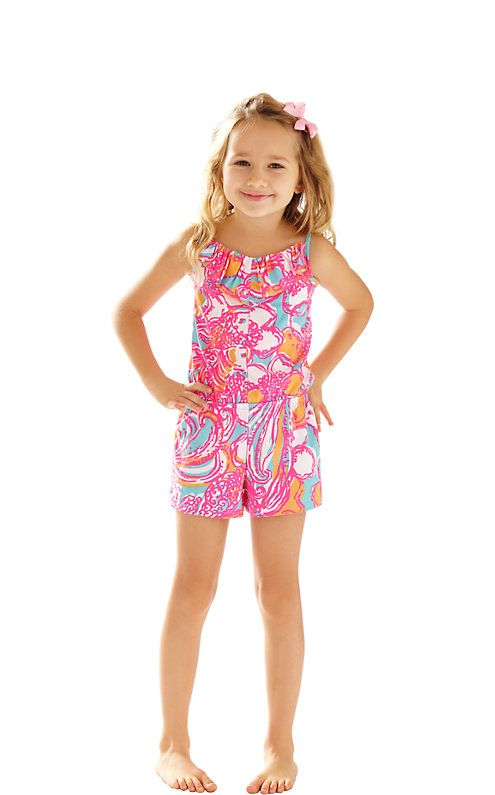 The Mini Deanna Romper is a strappy romper for girls. This romper features a ruffled neckline and an elastic waistband. It's the best for play dates and time at the playground.