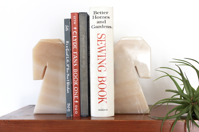 Vintage alabaster Horse head bookends/ Vintage onyx horse head book ends /  Hollywood Regency Bookends