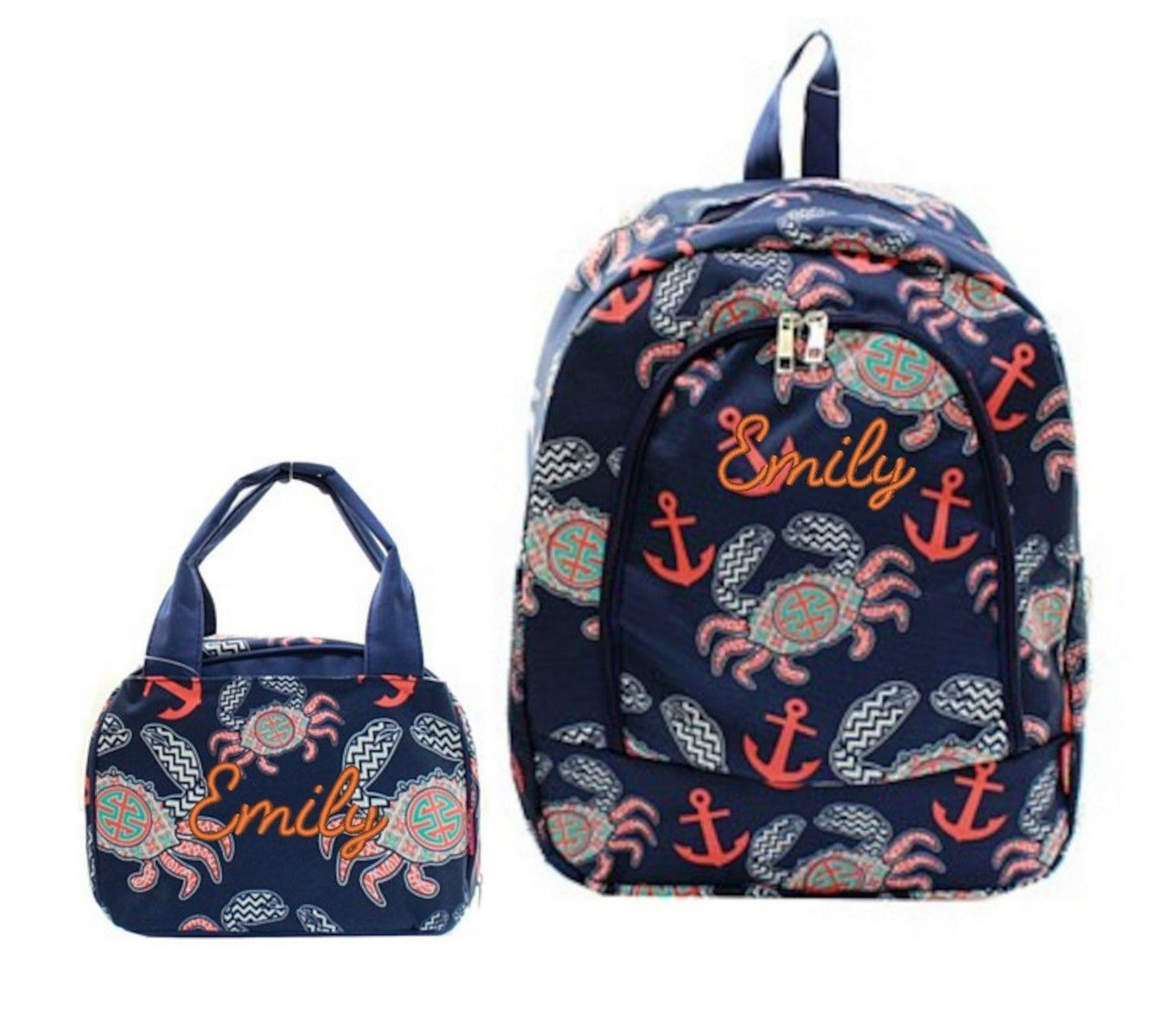 """Matching Backpack Lunch Bag Personalized Crab Anchor Navy 17"""" Full Size Backpack"""
