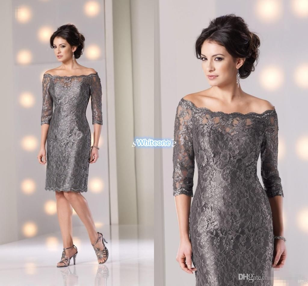 Lace Off Shoulder Mother Of The Bride Dresses 3 4 Long Sleeves Elegant Women Knee Length Sheath Zipper Formal Wedding Party Dresses 2016 Mother Of The Groom Tea Mother Of The Bride