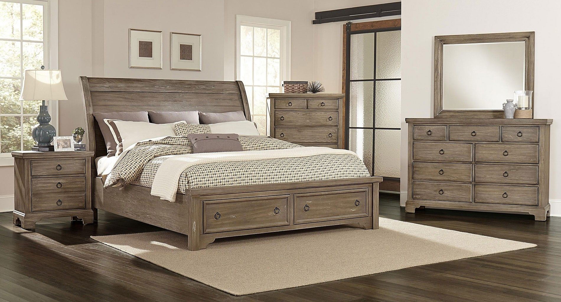 Whiskey Barrel Storage Bedroom Set Rustic Gray Rustic Grey