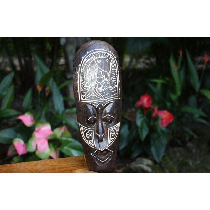 "Tribal Tiki Mask with Fish   Tiki Mask 12"""