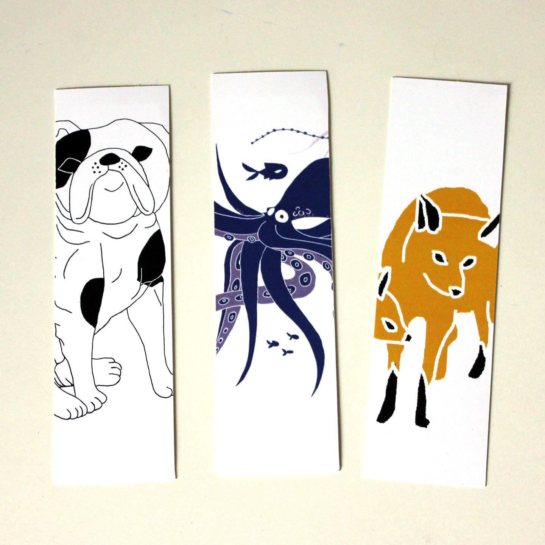 marque pages illustr s animaux chien pouple et renard marque pages par elodie amandine. Black Bedroom Furniture Sets. Home Design Ideas