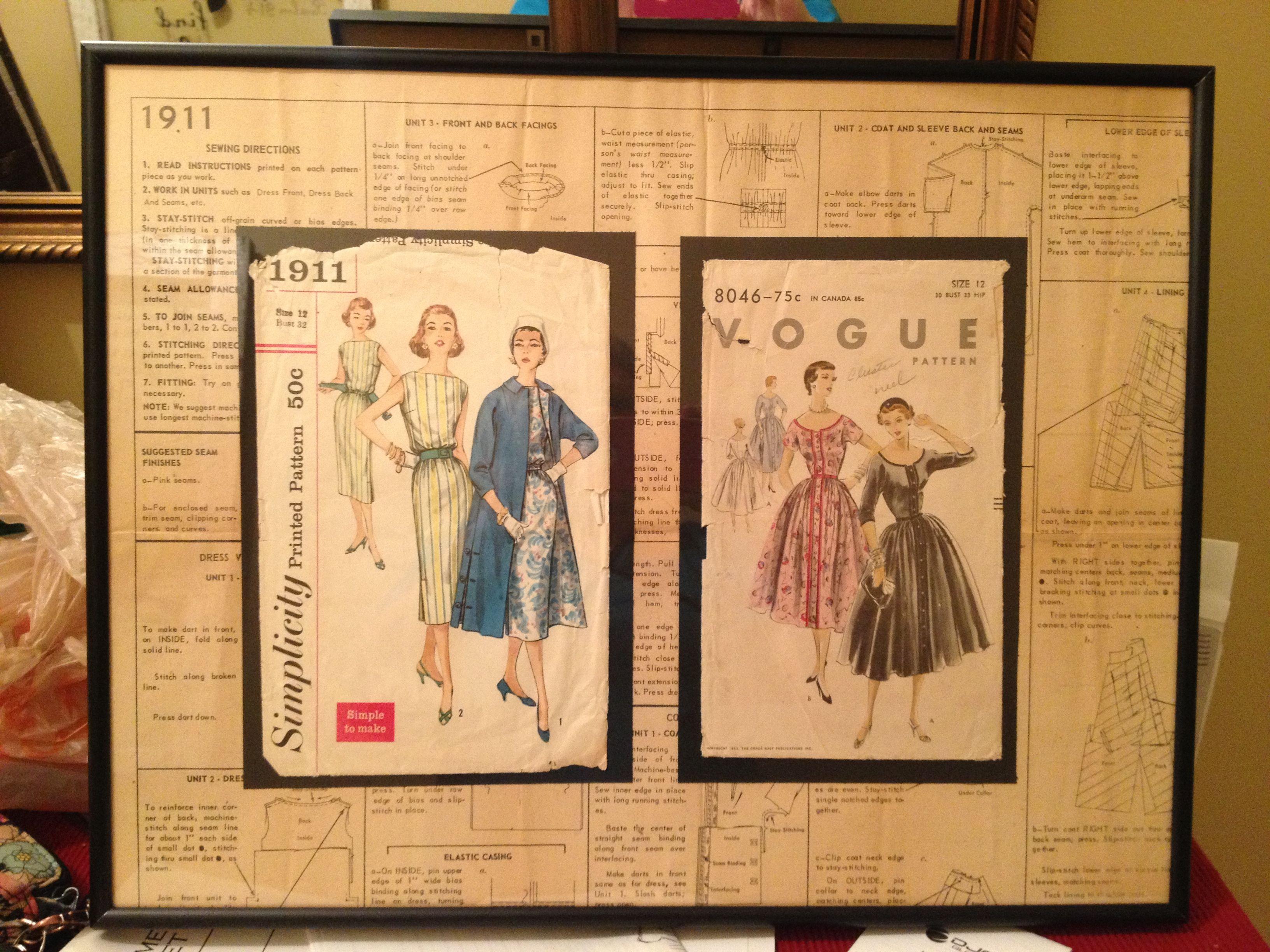 Framed vintage patterns using the instruction sheet as background