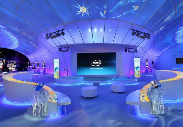 Exhibition Stand Lighting Plus : Plus use of light and colour for impact use of mosaic side