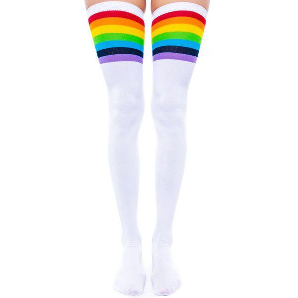 Over the Rainbow Knee Socks (€5,49) ❤ liked on Polyvore featuring intimates, hosiery, socks, accessories, stockings, white thigh high socks, rainbow knee high socks, cut-off, white knee high socks and rainbow socks