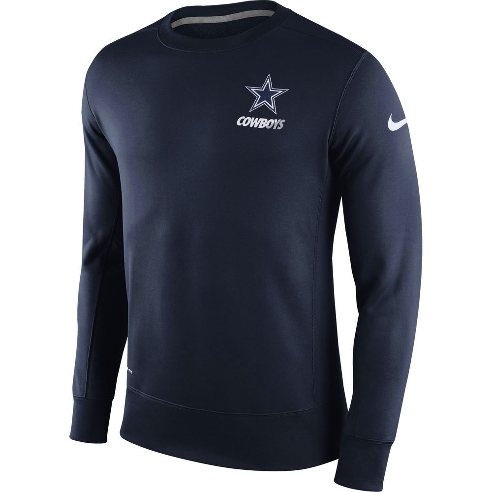 Men S Dallas Cowboys Nike Navy Sideline Crew Fleece Performance Sweatshirt Arkansas Apparel Long Sleeve Tshirt Men Sweatshirts [ 1000 x 1000 Pixel ]