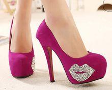 Mujeres cerrado Toe plataforma bombas tacones Stiletto zapatos de mujer Sexy zapatos de moda del Rhinestone rojo beso del partido para ladyWSH447(China (Mainland))