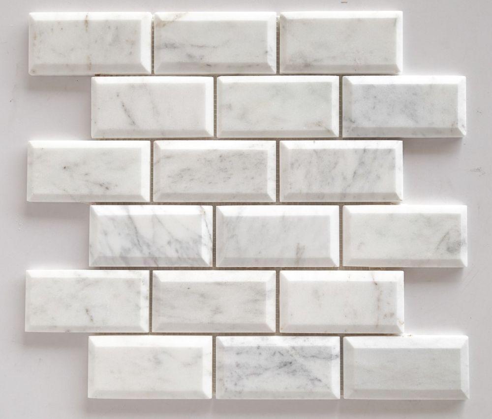 Bianco Venatino Marble 2X4 Deep-Beveled & Polished Subway TILE- LOT ...