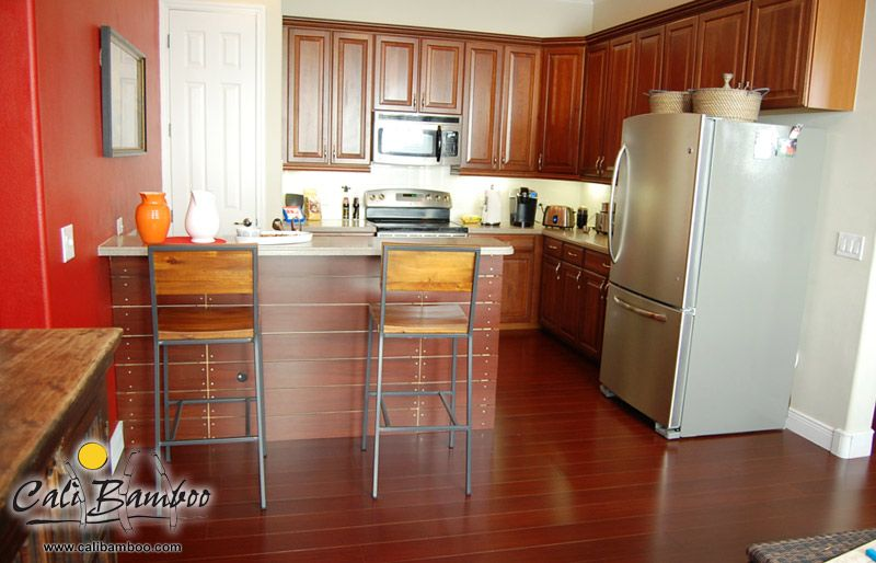 Red Bamboo Floors For The Kitchen | Cognac Bamboo Flooring | Cali Bamboo