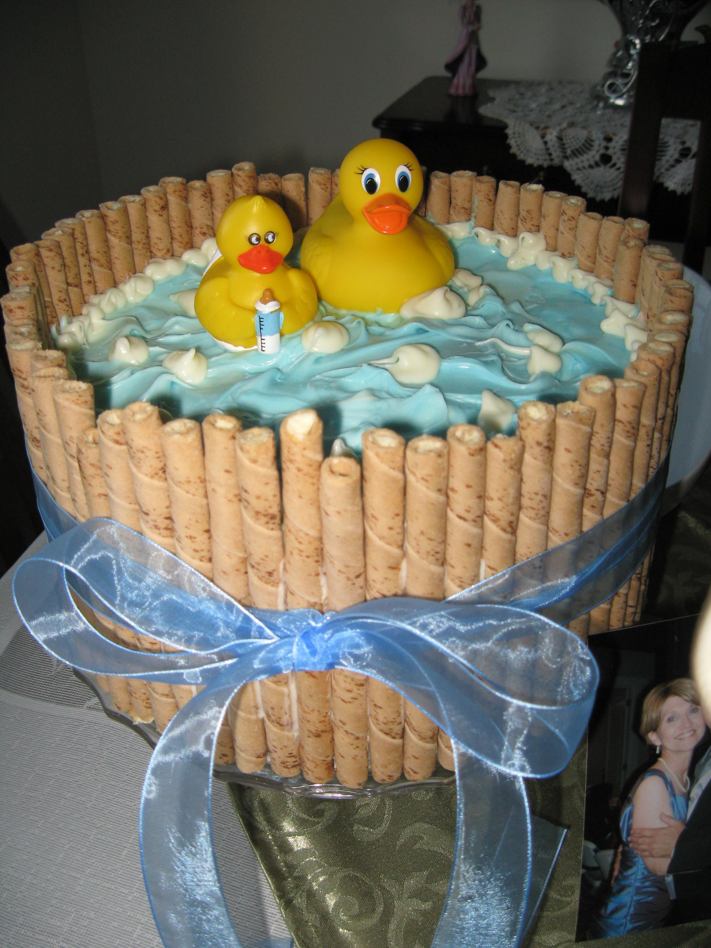 Cute baby shower cake For boy or girl just change the ribbon