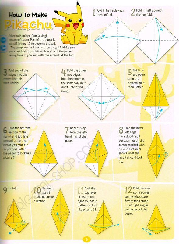 Beginning Of Origami Pikachu Paper Crafts
