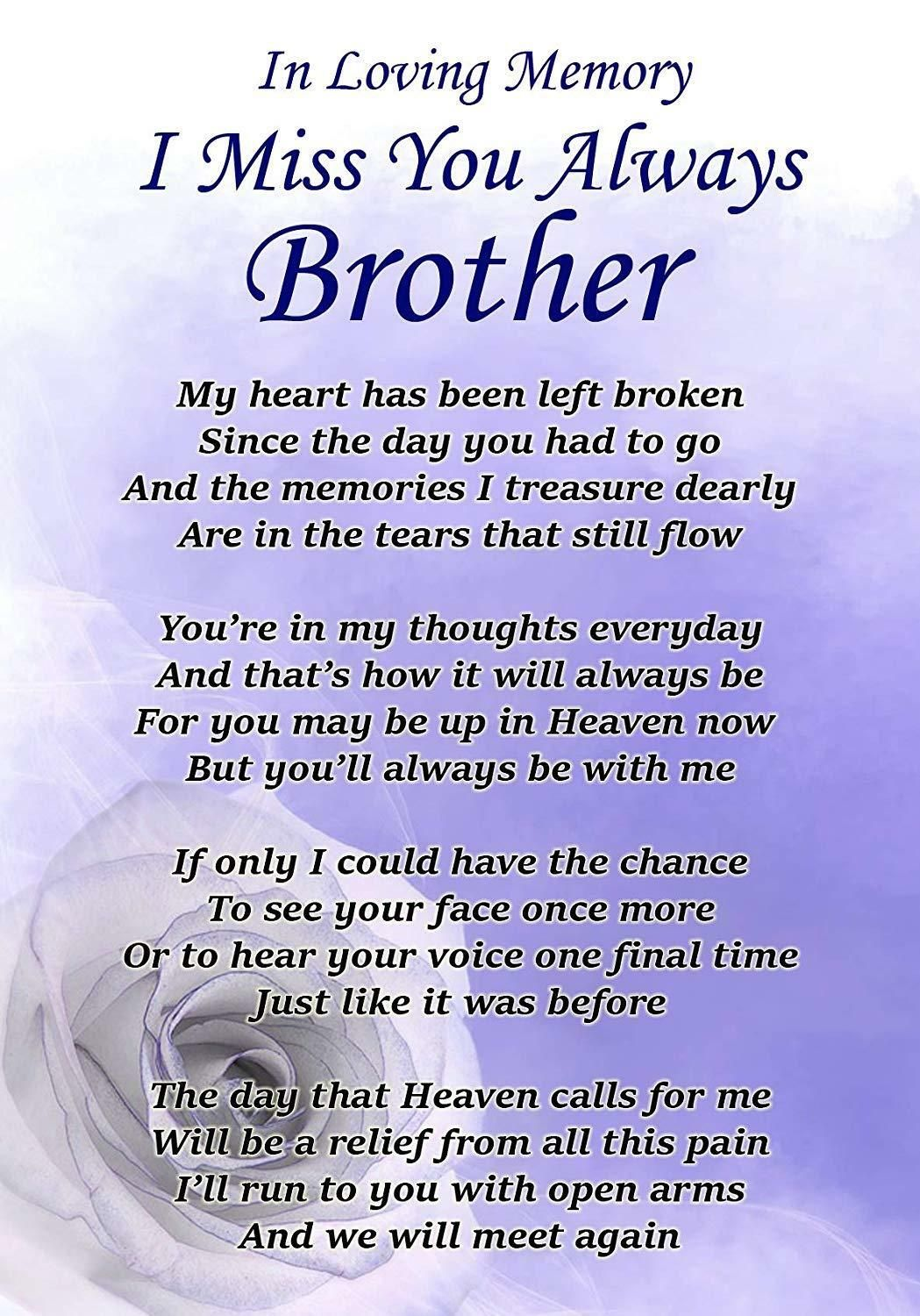 I Miss You Always Brother Memorial Graveside Poem Card Free Ground Stake F329 Miss You Brother Quotes My Brother Quotes Brother Birthday Quotes