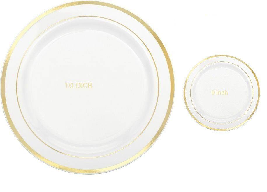 10 9 Dinner Wedding Party Disposable Plastic Plates Silverware White Goldrim Unbranded