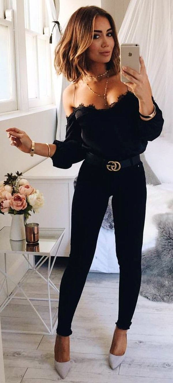 7b8df13ee19  spring  outfits Black Off The Shoulder Top Black Skinny Jeans Grey Pumps